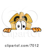 Clipart Picture Of A Badge Mascot Cartoon Character Peeking Over A Surface