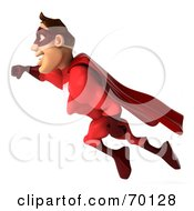 3d Red Super Hero Guy Flying Pose 1 by Julos