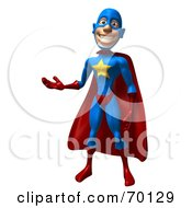 Royalty Free RF Clipart Illustration Of A 3d Male Star Superhero Character Presenting by Julos