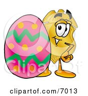 Clipart Picture Of A Badge Mascot Cartoon Character Standing Beside An Easter Egg