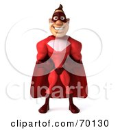 Royalty Free RF Clipart Illustration Of A 3d Red Super Hero Guy Standing Pose 1