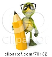 Royalty Free RF Clipart Illustration Of A 3d Green Tortoise Character Holding A Pencil Version 1