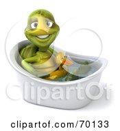 Royalty Free RF Clipart Illustration Of A 3d Green Tortoise Character Wearing A Floaty And Standing In A Tub Version 3