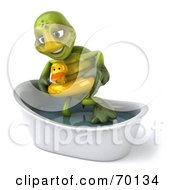 Royalty Free RF Clipart Illustration Of A 3d Green Tortoise Character Wearing A Floaty And Standing In A Tub Version 2