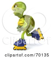 Royalty Free RF Clipart Illustration Of A 3d Green Tortoise Character Roller Blading Version 4