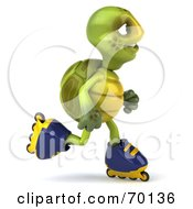 Royalty Free RF Clipart Illustration Of A 3d Green Tortoise Character Roller Blading Version 5
