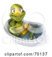 Royalty Free RF Clipart Illustration Of A 3d Green Tortoise Character Wearing A Floaty And Standing In A Tub Version 4