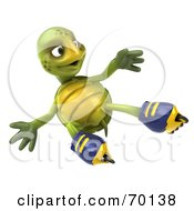 Royalty Free RF Clipart Illustration Of A 3d Green Tortoise Character Roller Blading Version 6