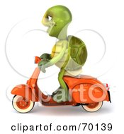 Royalty Free RF Clipart Illustration Of A 3d Green Tortoise Character Riding A Scooter Version 1