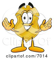 Clipart Picture Of A Badge Mascot Cartoon Character With Welcoming Open Arms by Toons4Biz
