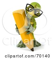 Royalty Free RF Clipart Illustration Of A 3d Green Tortoise Character Holding A Pencil Version 3