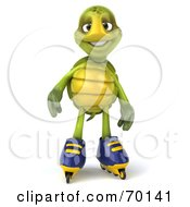 Royalty Free RF Clipart Illustration Of A 3d Green Tortoise Character Roller Blading Version 2