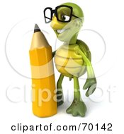 Royalty Free RF Clipart Illustration Of A 3d Green Tortoise Character Holding A Pencil Version 2