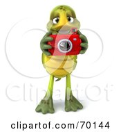 Royalty Free RF Clipart Illustration Of A 3d Green Tortoise Character Taking Pictures Version 1