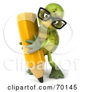 Royalty Free RF Clipart Illustration Of A 3d Green Tortoise Character Holding A Pencil Version 4