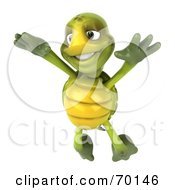 Royalty Free RF Clipart Illustration Of A 3d Green Tortoise Character Leaping