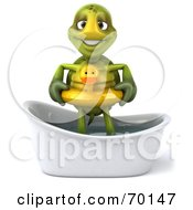 Royalty Free RF Clipart Illustration Of A 3d Green Tortoise Character Wearing A Floaty And Standing In A Tub Version 1