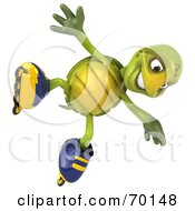 Royalty Free RF Clipart Illustration Of A 3d Green Tortoise Character Roller Blading Version 7