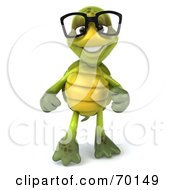 Royalty Free RF Clipart Illustration Of A 3d Green Tortoise Character Pointing And Smiling
