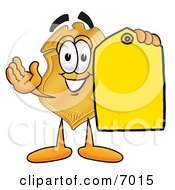 Badge Mascot Cartoon Character Holding A Blank Yellow Price Tag For A Sale by Toons4Biz