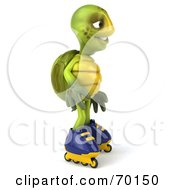 Royalty Free RF Clipart Illustration Of A 3d Green Tortoise Character Roller Blading Version 1