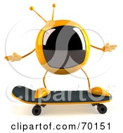 Royalty Free RF Clipart Illustration Of A 3d Yellow Square Tele Character Skateboarding Pose 1 by Julos