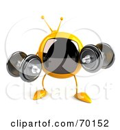 Royalty Free RF Clipart Illustration Of A 3d Yellow Square Tele Character Lifting Weights by Julos