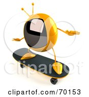 Royalty Free RF Clipart Illustration Of A 3d Yellow Square Tele Character Skateboarding Pose 2 by Julos