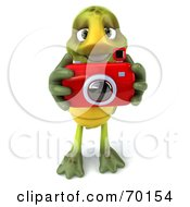 Royalty Free RF Clipart Illustration Of A 3d Green Tortoise Character Taking Pictures Version 2
