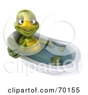 Royalty Free RF Clipart Illustration Of A 3d Green Tortoise Character Giving The Thumbs Up And Soaking In A Tub