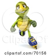 Royalty Free RF Clipart Illustration Of A 3d Green Tortoise Character Roller Blading Version 3