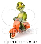 Royalty Free RF Clipart Illustration Of A 3d Green Tortoise Character Riding A Scooter Version 2