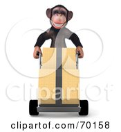 Royalty Free RF Clipart Illustration Of A 3d Chimp Character Delivering Boxes Pose 1