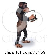 Royalty Free RF Clipart Illustration Of A 3d Chimp Character Holding And Using A Laptop