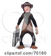 Royalty Free RF Clipart Illustration Of A 3d Chimp Character Carrying A Briefcase Pose 1