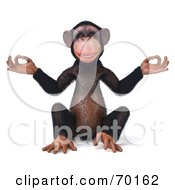 Royalty Free RF Clipart Illustration Of A 3d Chimp Character Meditating Pose 1