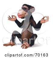 Royalty Free RF Clipart Illustration Of A 3d Chimp Character Meditating Pose 2