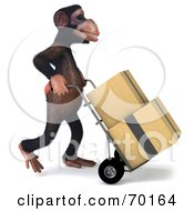 Royalty Free RF Clipart Illustration Of A 3d Chimp Character Delivering Boxes Pose 2