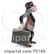 Royalty Free RF Clipart Illustration Of A 3d Chimp Character Carrying A Briefcase Pose 2
