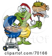 Royalty Free RF Clipart Illustration Of A Grilling Tortoise Wearing A Santa Hat And Holding Food On A BBQ Fork