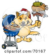 Royalty Free RF Clipart Illustration Of A Grilling Dingo Wearing A Santa Hat And Holding Food On A BBQ Fork by Dennis Holmes Designs