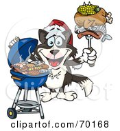 Royalty Free RF Clipart Illustration Of A Grilling Border Collie Wearing A Santa Hat And Holding Food On A BBQ Fork by Dennis Holmes Designs