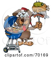 Royalty Free RF Clipart Illustration Of A Grilling Dachshund Wearing A Santa Hat And Holding Food On A BBQ Fork
