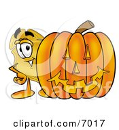 Clipart Picture Of A Badge Mascot Cartoon Character With A Carved Halloween Pumpkin by Toons4Biz