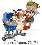 Royalty Free RF Clipart Illustration Of A Grilling Fox Wearing A Santa Hat And Holding Food On A BBQ Fork by Dennis Holmes Designs