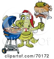 Royalty Free RF Clipart Illustration Of A Grilling Crocodile Wearing A Santa Hat And Holding Food On A BBQ Fork