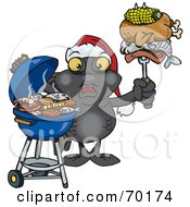 Royalty Free RF Clipart Illustration Of A Grilling Blackmoor Fish Wearing A Santa Hat And Holding Food On A BBQ Fork
