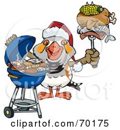 Royalty Free RF Clipart Illustration Of A Grilling Zebra Finch Wearing A Santa Hat And Holding Food On A BBQ Fork
