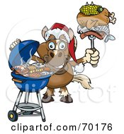 Royalty Free RF Clipart Illustration Of A Grilling Horse Wearing A Santa Hat And Holding Food On A BBQ Fork