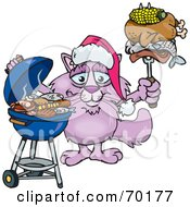 Royalty Free RF Clipart Illustration Of A Grilling Pink Cat Wearing A Santa Hat And Holding Food On A BBQ Fork